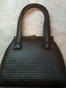 Authentic Vintage HALSTON Handbag Purse Embossed Logo Brown Leather FREE SHIP