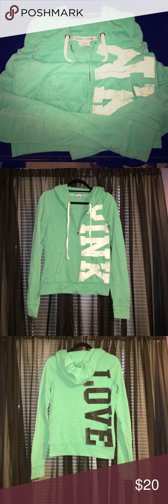PINK Aqua/Green Zip Up Sweatshirt Gently Worn, Still Good Condition PINK Victoria's Secret Other