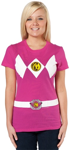 Morph into the Pink Ranger with this Mighty Morphin Power Rangers costume shirt.  Featured on the shirt is the Pterodactyl coin worn on the outfit of the Pink Power Ranger.