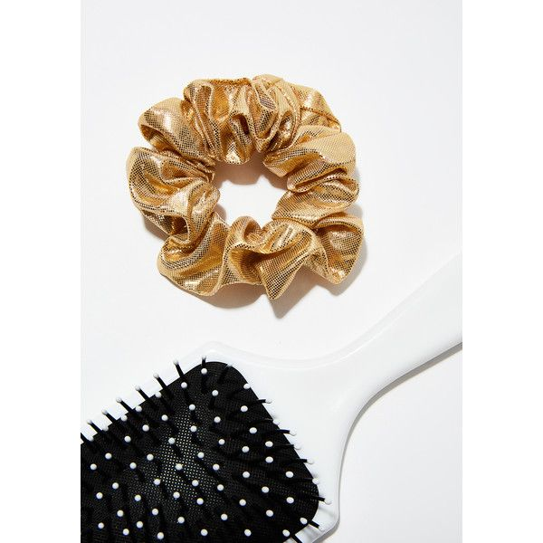 Metallic Gold Scrunchie ($5) ❤ liked on Polyvore featuring accessories, hair accessories, golden hair accessories, scrunchie hair accessories and ana accessories