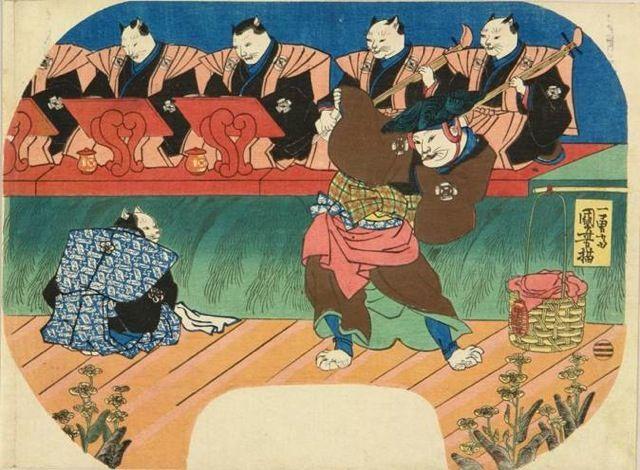<猫の歌舞伎 出語り図 : NEKONOKABUKI DEGATARIZU> CAT CABUKI DEGATARI KUNIYOSHI UTAGAWA 1798-1861 Last of Edo Period