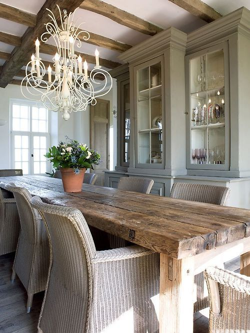 Dining room with farmhouse table - hate the chairs