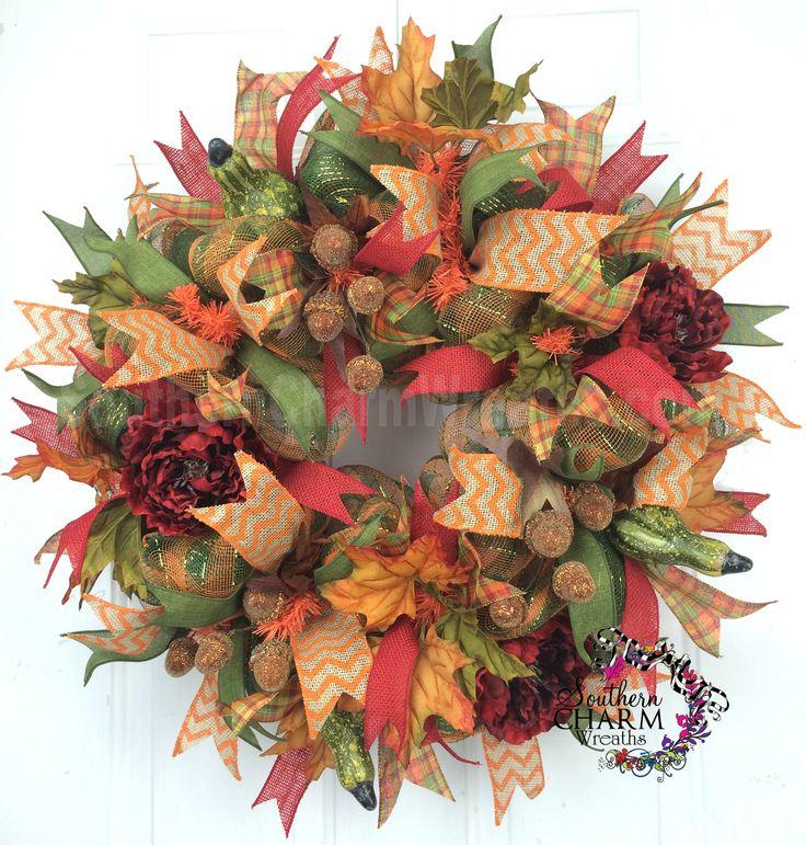 Deco Mesh Fall Wreath -Acorn -Gourds -Peonies -Fall Decor by www.southerncharmwreaths.com #fall #acorns #decor