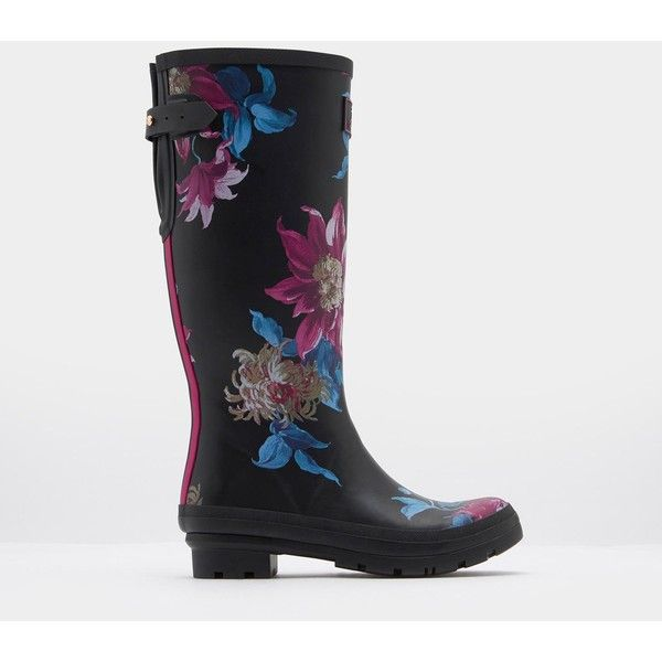 Ajusta Black Clematis Adjustable Back Gusset Printed Rain Boots |... (£64) ❤ liked on Polyvore featuring shoes, boots, joules boots, wellies boots, black boots, wellington boots and kohl boots