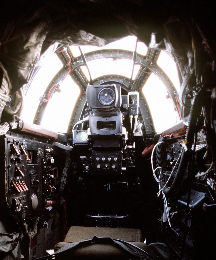 The gunner's position in the tail of a Boeing B-52D Stratofortress. (U.S. Air Force)