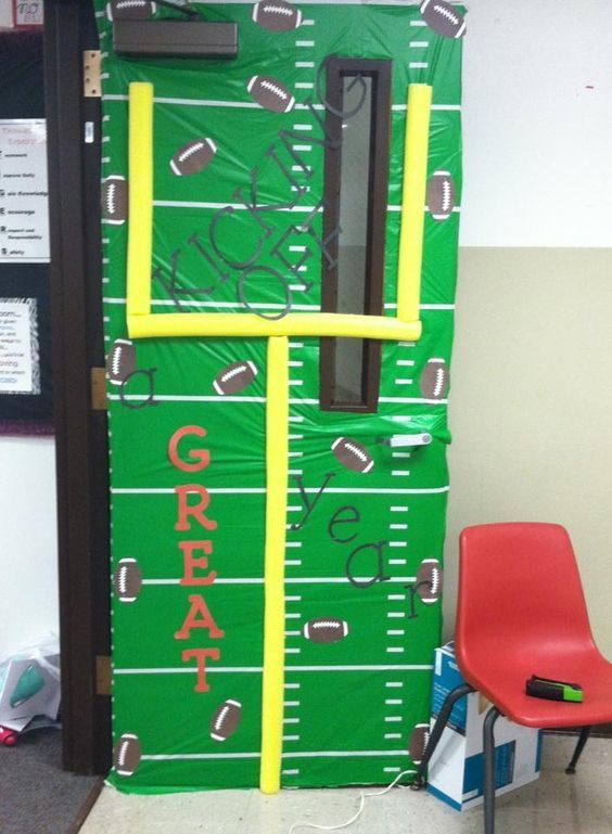 Sports Theme Classroom Door - love the pool noodles!! (broken link, picture only)