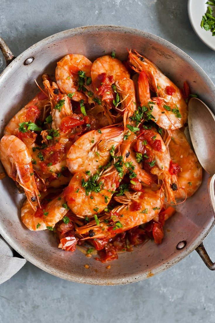 This sublime gamberi alla busara recipe – or prawns in tomato sauce for the uninitiated – is summer in a bowl. Beautiful prawns cooked in a rich cherry tomato sauce, flavoured with garlic and parsley, shows off flavourful, simple Venetian cooking at its best. Serve with plenty of crusty bread to mop up the sauce.