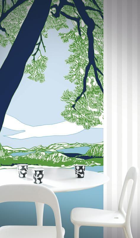 Marimekko Ho-hoi! -tapetti, suunnittelija Maija Louekari. Paneelitapetti avaa näkymän kauniiseen, pohjoismaiseen maisemaan. - Marimekko Ho-hoi! wallpaper, design Maija Louekari. A panel wallpaper, that opens a beautiful scene to a Nordic landscape. #designfromfinland #sinivalkoinenvalinta #marimekko