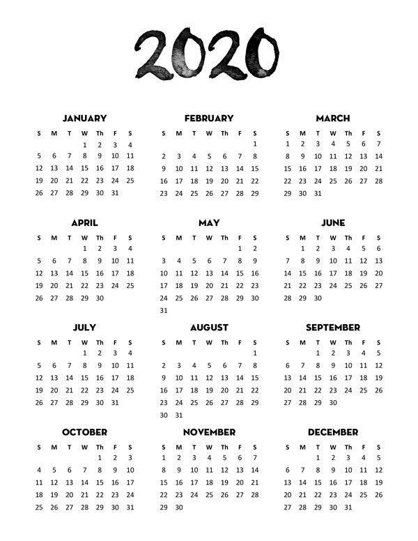 free printable 2020 monthly calendar pdf