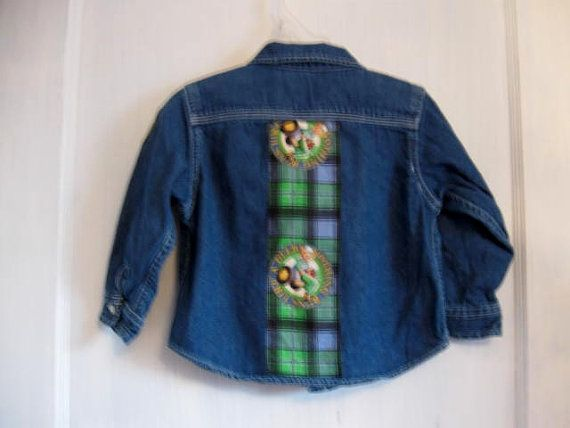 Reconstructed Boys Denim Shirt John Deere Denim shirt by HappyRagz