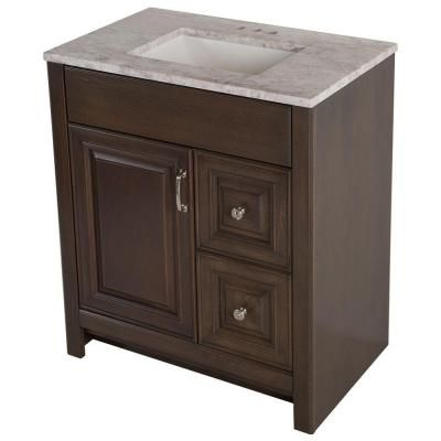 Home Decorators Collection Park Heights 30 5 In W Vanity In Bark With Stone Effects Vanity Top