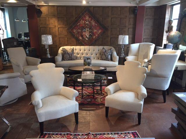 #andrewmartin #interiordesign #decor #homefurnshings #chairs #sofa #tufted #wood #wallpaper #textile #tablelamp #neutral #white