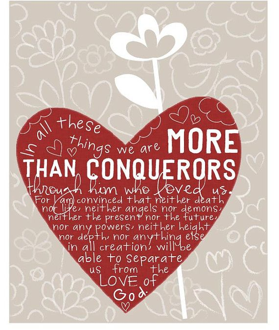 More than conquerors 8 by 10 print by EmilyBurgerDesigns on Etsy, $20.00