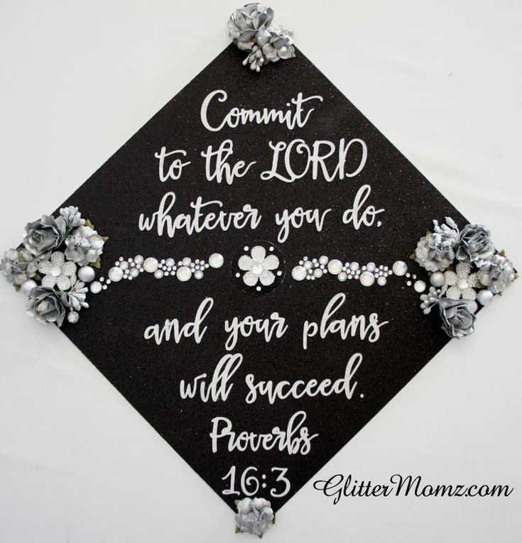 Proverbs 16.3 Custom Graduation Topper Decoration Graduation Topper – Flowers and Rhinestones Proverbs 16.3 Custom Graduation Topper Decoration Graduation Topper – Flowers and Rhinestones
