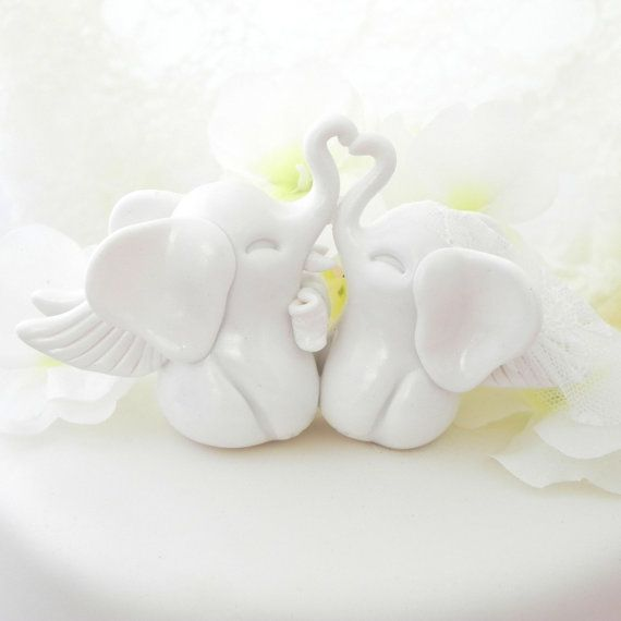 Wedding Cake Topper White Elephants With Wings Bride