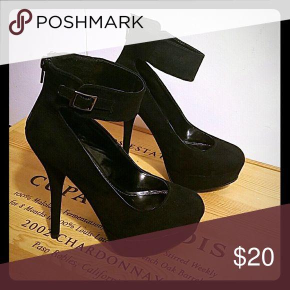 Black suede heels Black suede 4.5 inch heels never worn Breckelles Shoes Heels
