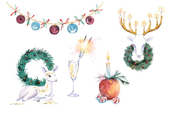 Check out Watercolor Christmas clipart set by masha gross on Creative Market