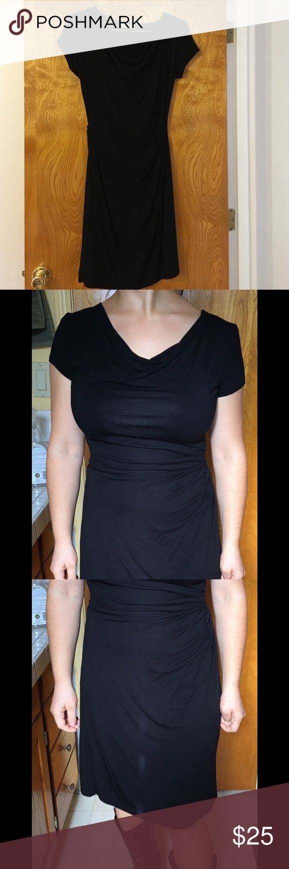 Black cowl neck dress Black short sleeve dress. About knee-length though I am petite. Sleeves are short/ almost cap length. Made of viscose in Thailand. It's labeled one size but it runs about medium. za zen Dresses Midi