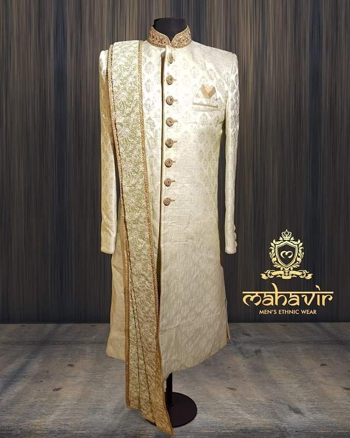 812569d3e5 Ethnic Sherwani redefined for the modern man in this classy outfit only at Mahavir  Collections! Visit our store in Chandni Chowk now.
