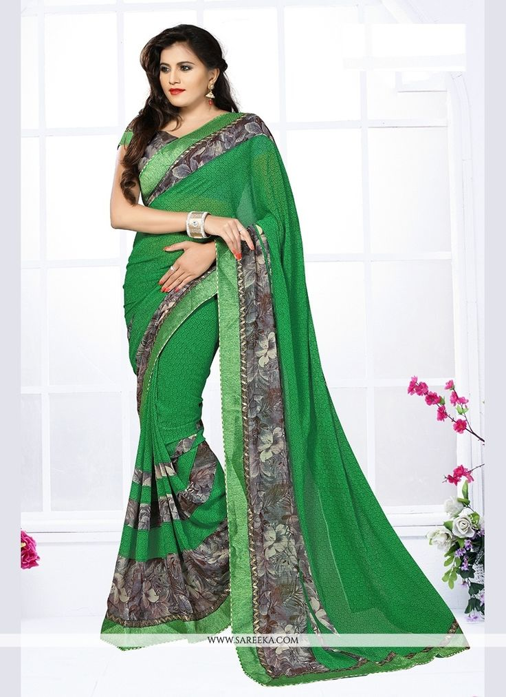 Make the heads turn when you costume up in this kind of a pretty green georgette printed saree. The print work seems chic and great for any get together. Comes with matching blouse. (Slight variation ...
