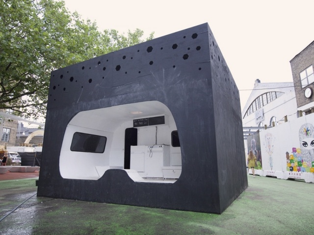 Anders G. Norman, Max Dengler and Victor Serrander cut away one side of the caravan and pushed the rest of it into a 6-by-6m black painted plywood box