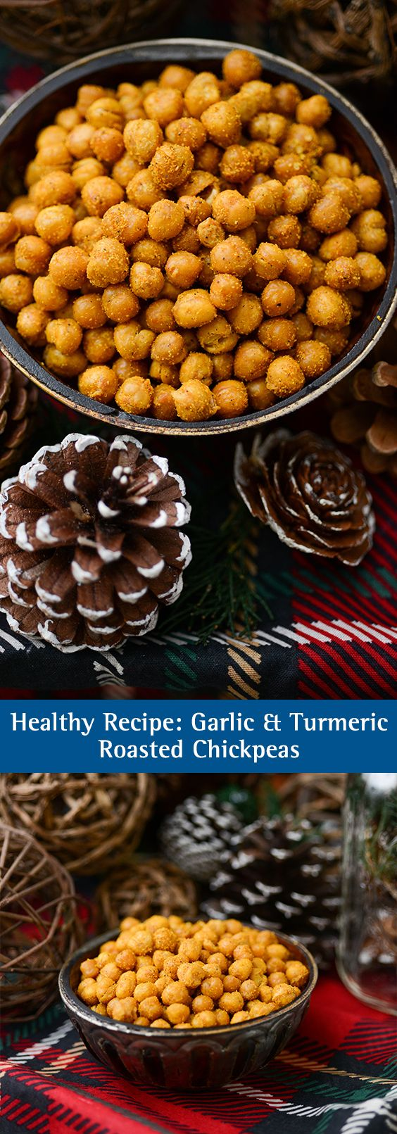 Healthy Vegetarian Snack Recipe: Garlic and Turmeric Roasted Chickpeas. Whether you need an afternoon pick-me-up at work or are out running errands, these spicy roasted chickpeas make for the perfect snack to curb your hunger. This healthy recipe is high in fiber and protein but low in saturated fat, and is the perfect alternative to other salty, fatty snack options.