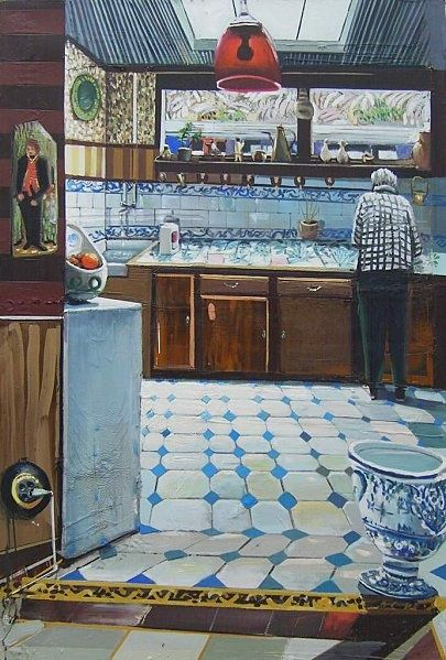 Mathieu CHERKIT, Cuisine bleue, 2011, huile sur toile