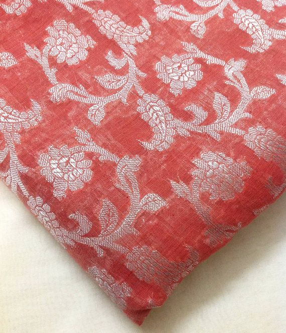 Indian Silk Chanderi Silk Fabric In Peach Pink Peach