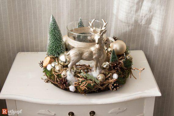 Windlicht mit Kranz Weihnachtsdeko Weihnachtskranz Tannenzapfen Naturdeko