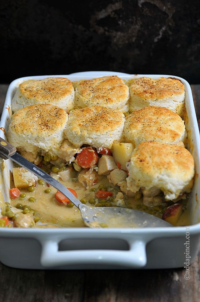 Chicken Pot Pie with Biscuits Recipe - Cooking | Add a Pinch | Robyn Stone