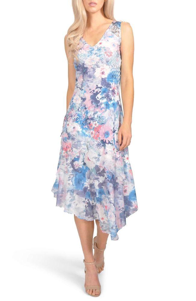 593e58621de Komarov size M floral chiffon and charmeuse dress asymmetric hem  fashion   clothing  shoes  accessories  womensclothing  dresses (ebay link)