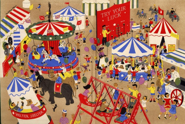 Circus illustration from The Children's Wonder Book , Number 2, 1930s.
