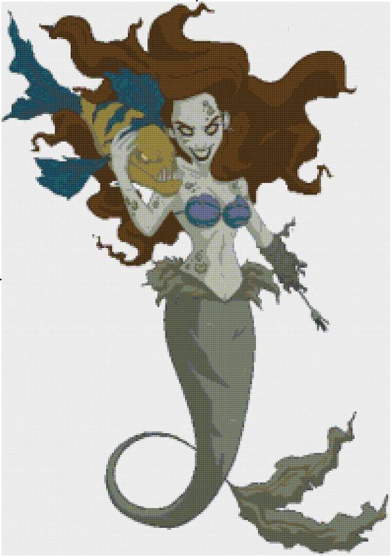 Zombie Ariel PDF Cross Stitch Pattern by CSDesignsbyLeah on Etsy, $5.00