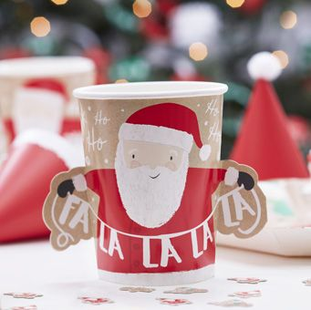 Spread the Christmas spirit in your home this year with these lovely red and white Santa Paper Cups.