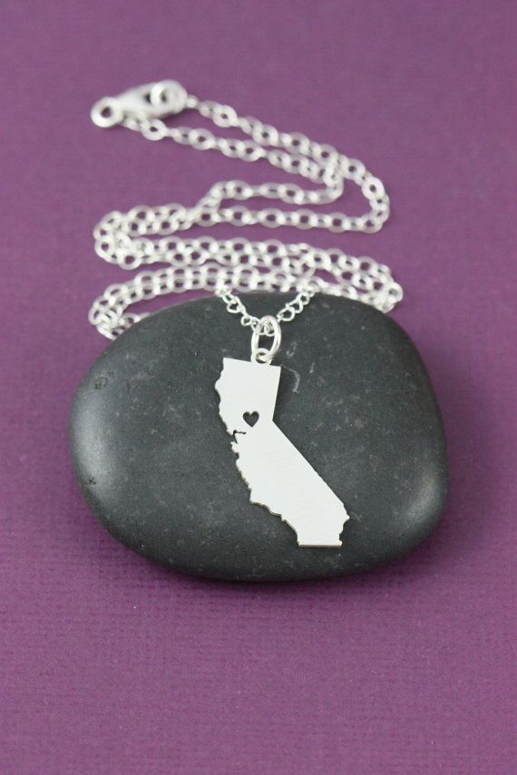 SALE  California Necklace  States Jewelry  Heart  by IvyByDesign