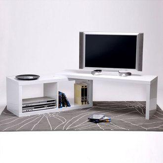 meuble tv bas pivotant en bois laqu longueur 120 cm sandy - Mini Meuble Tv Alinea