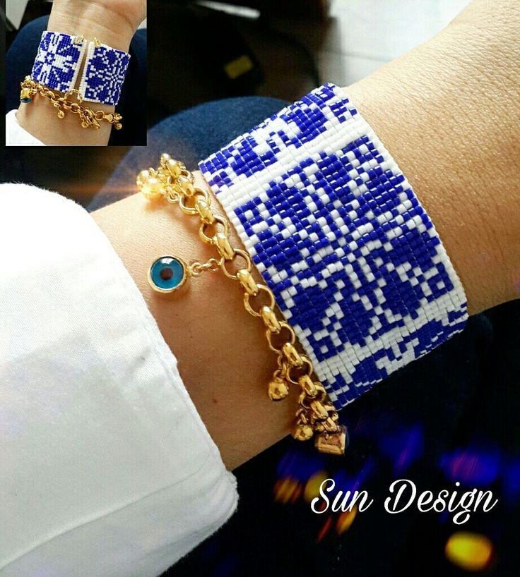 Mavi kar taneleri bileklik #miyuki #beads #boncuk #pattern #beadloom #brick #stitch #peyote #bracelet #bileklik #takı #tasarım #fashion