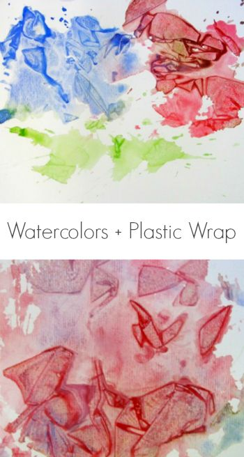 Create unique crystal-textured art with this fun watercolor and plastic wrap printing technique -- lots of fun for kids!