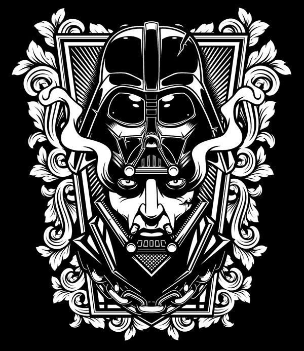 Darth vader black and white pinterest darth vader for Darth vader black and white