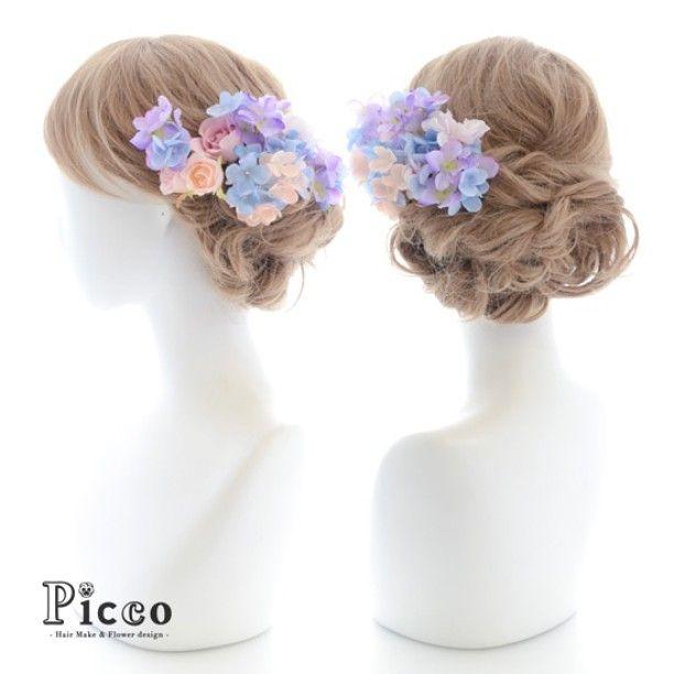 Gallery 155  Order Made Works Original Hair Accesory for WEDDING #byPicco  サイドに #ふわっと #透明感  #パステルカラー の#ハイドランジア が#素敵すぎる #髪飾り #❤️ #カラードレス に#似合う 似合う #オリジナル#オーダーメイド#ドレス#結婚式#花嫁  ##花飾り#ウェディング#ブライダル#造花#ヘアセット#アップスタイル#挙式 #hairdo#flower#hairaccessory#dress#wedding