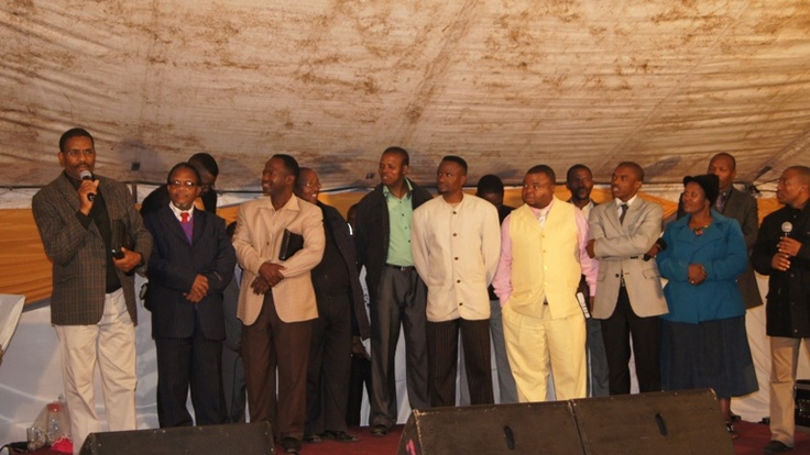 MTHATHA - Pastors on stage, committing themselves to discipling the new converts.