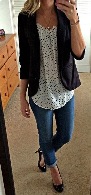 Love the casual jean mixed with dress shirt, blazer, and heels.  Perfect for day with my clients!
