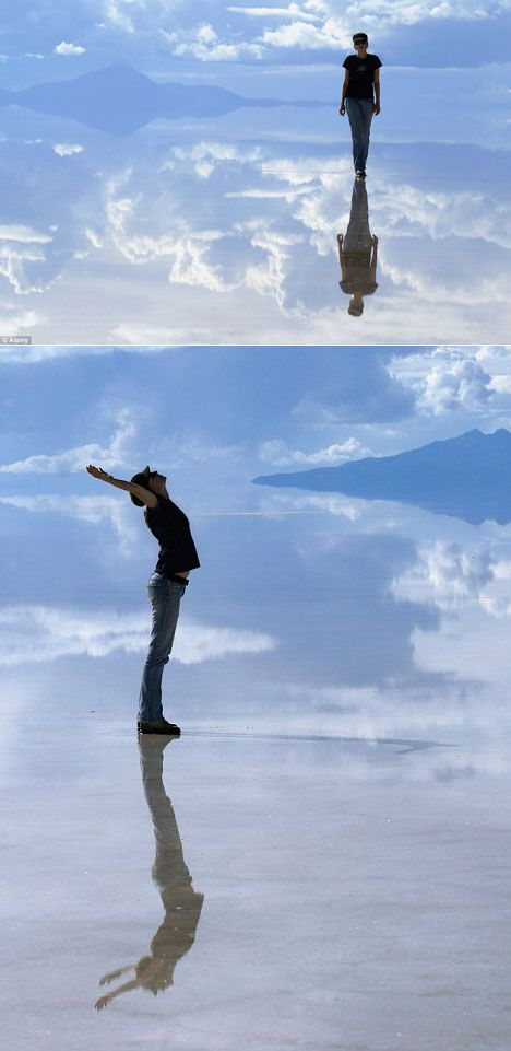 The Salar de Uyuni (Uyuni Salt Flats) in Bolivia is a 4,000-square-mile pan of salt crust, formed from prehistoric lakes and inhospitably tucked more than two miles above sea level. Dried out, it looks like this: AMAZING!
