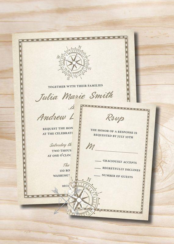 Rustic Compass Nautical Wedding Invitation and Response Card