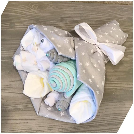 These sweet bouquets are the perfect way to welcome baby! Each bouquet is blooming with a little bit of everything new parents will need when baby arrives. Plus, they make an adorable decoration in the nursery or hospital until mom is ready to disassemble and use items for baby. Each