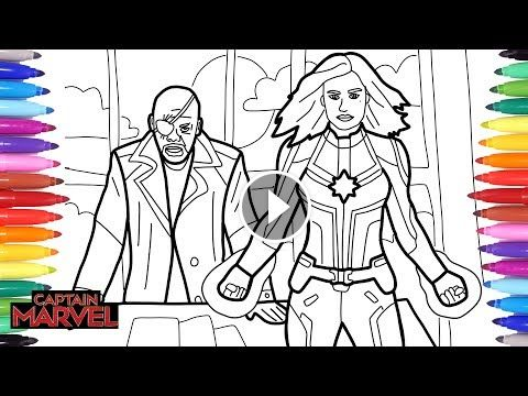 Captain Marvel Coloring Pages How To Draw Captain Marvel And Nick