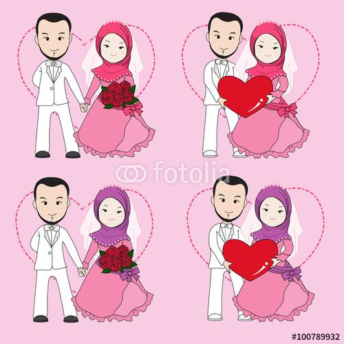Muslim wedding couple, bride and groom holding each other hand. wedding cartoon vector