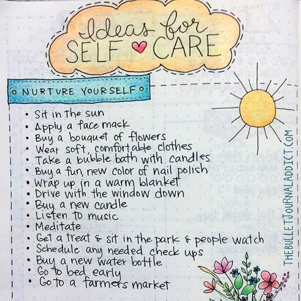 These self-care ideas you'll always want at the ready: | 29 Bullet Journal Layouts For Anyone Trying To Be Healthy