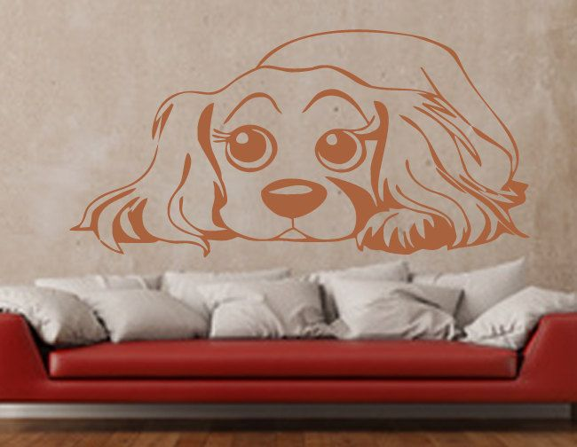 Wandtattoo Cavalier King Charles Spaniel WallArt Wandaufkleber Sticker Deko Hund Welpe Hundekopf 36 Farben Seidenmatt Seidenglanz WA-044 von AnamadaDesign auf Etsy