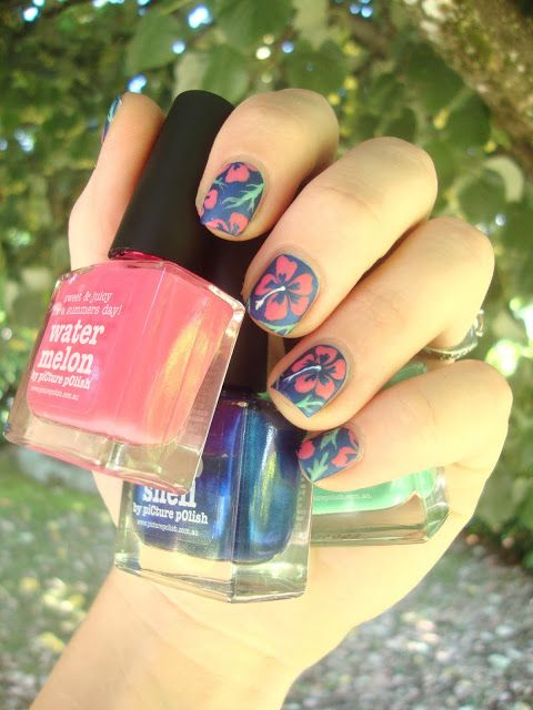 piCture pOlish BlogFest 2013 hibiscus, hawaiian flowers nail art! #cocosnailss